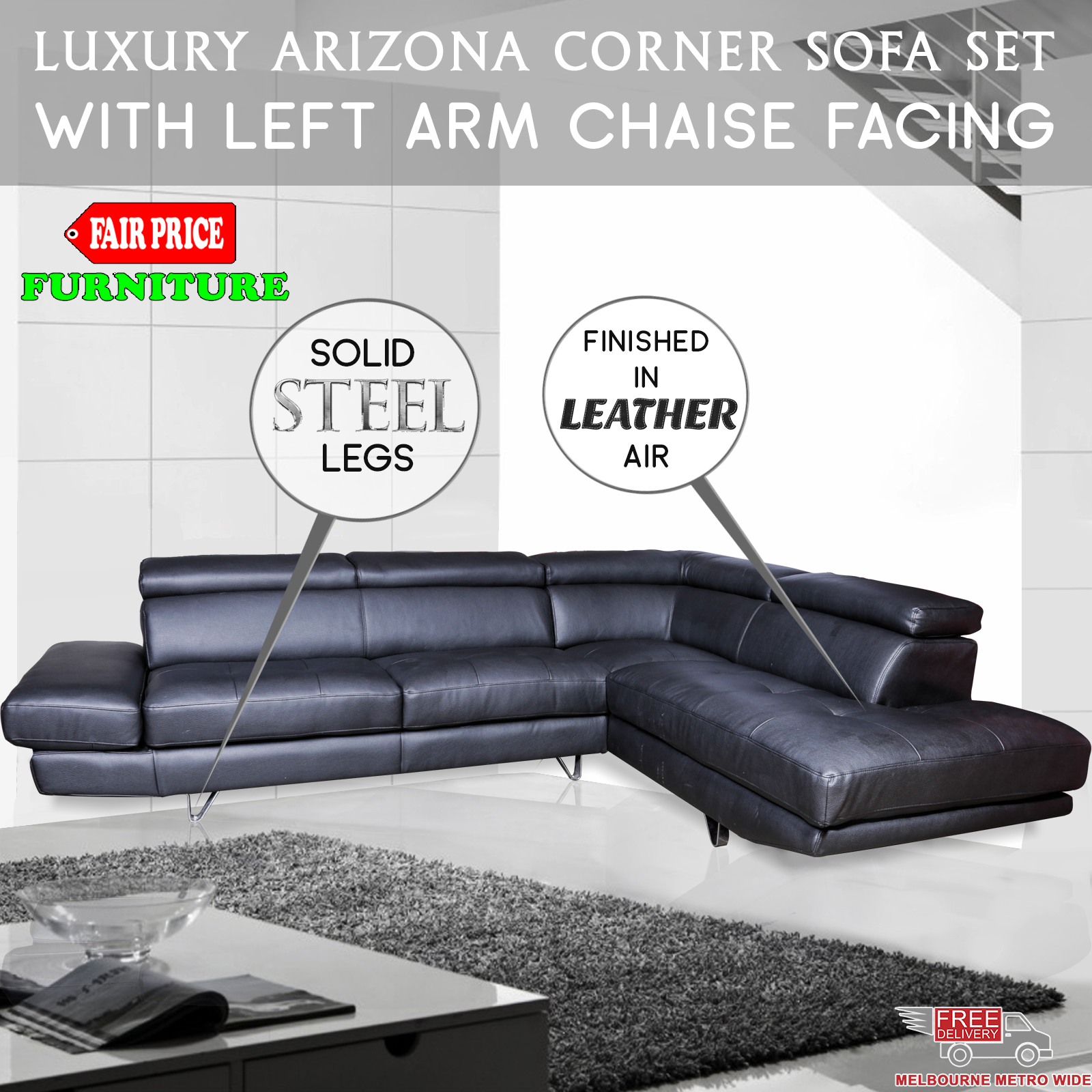 New luxury arizona leather air corner sofa set with left for Arizona leather sectional sofa with chaise