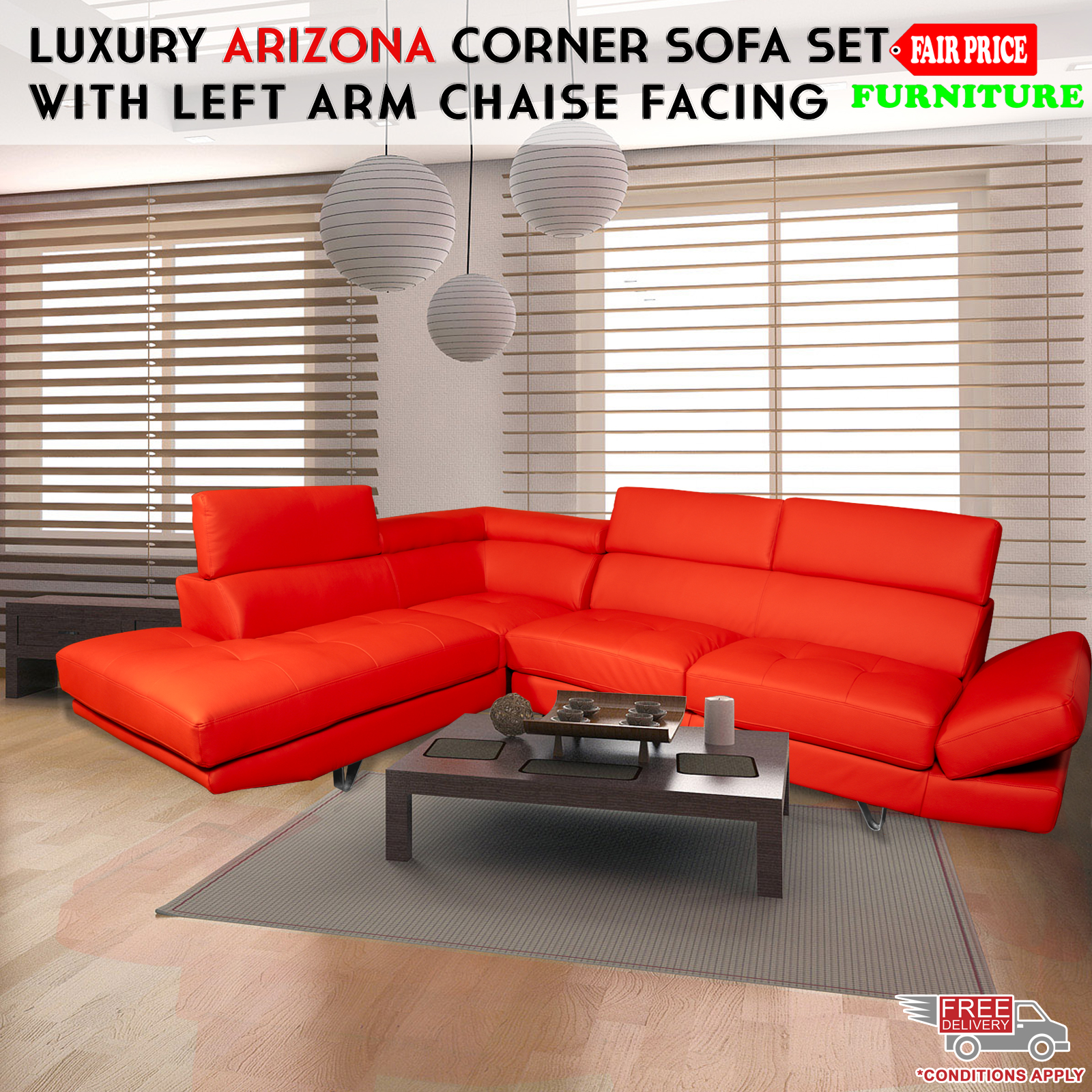 Corner Sofa Set Price In Hyderabad: Luxury Arizona Leather Air Corner Sofa Set W/ Left Arm