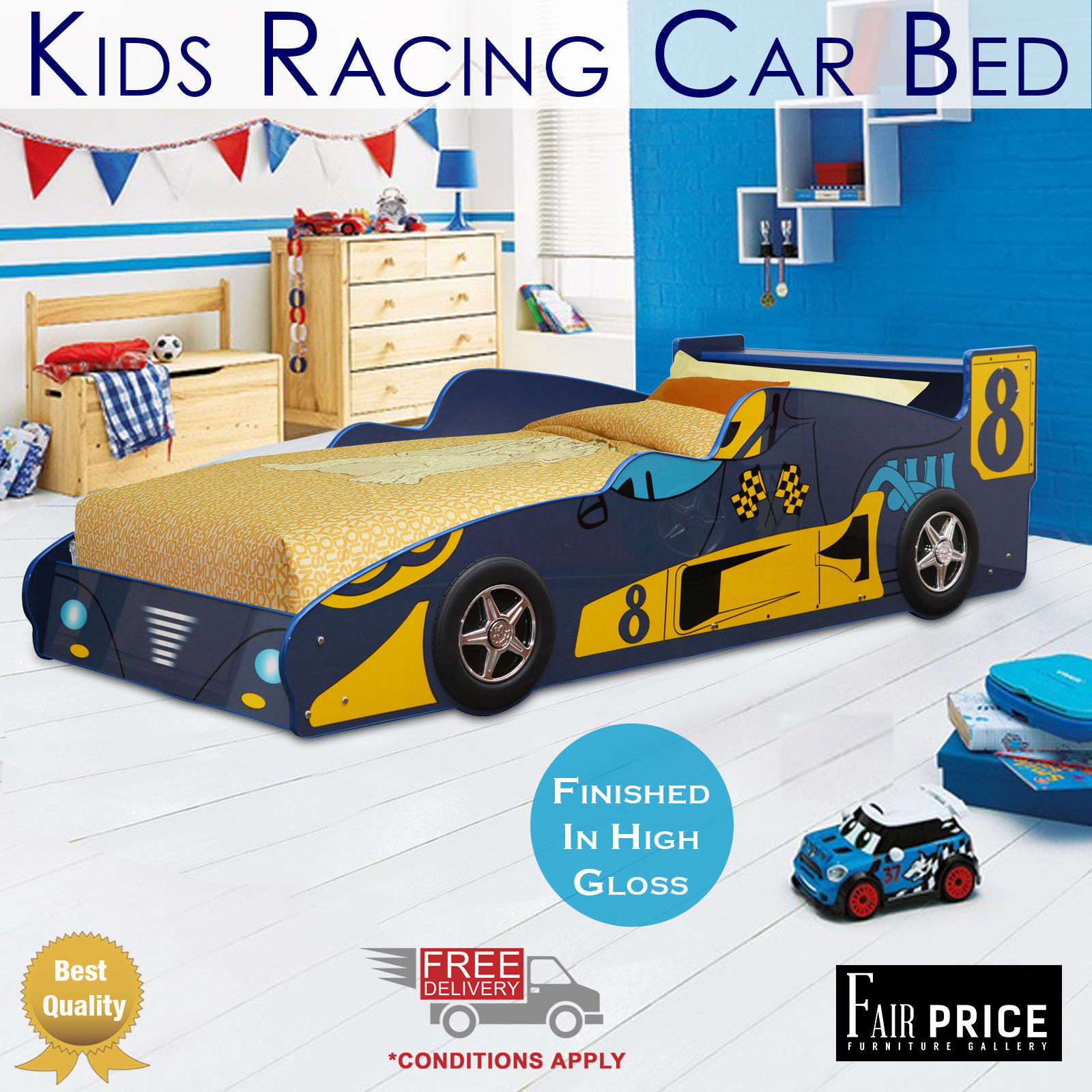 New Kids Racing Car Bed Single Size Blue Color Children