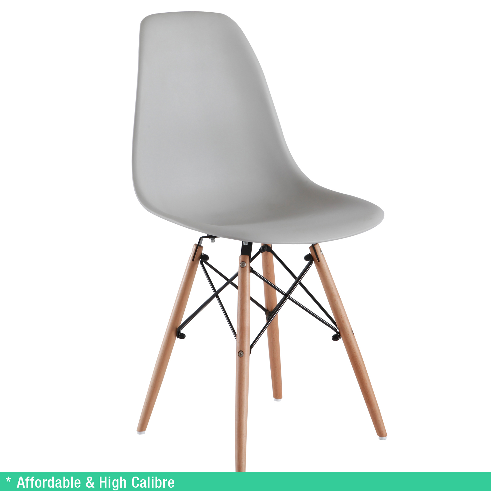8 X Retro Replica Eames Chick DSW Dining Chairs Office Cafe Kitchen Grey