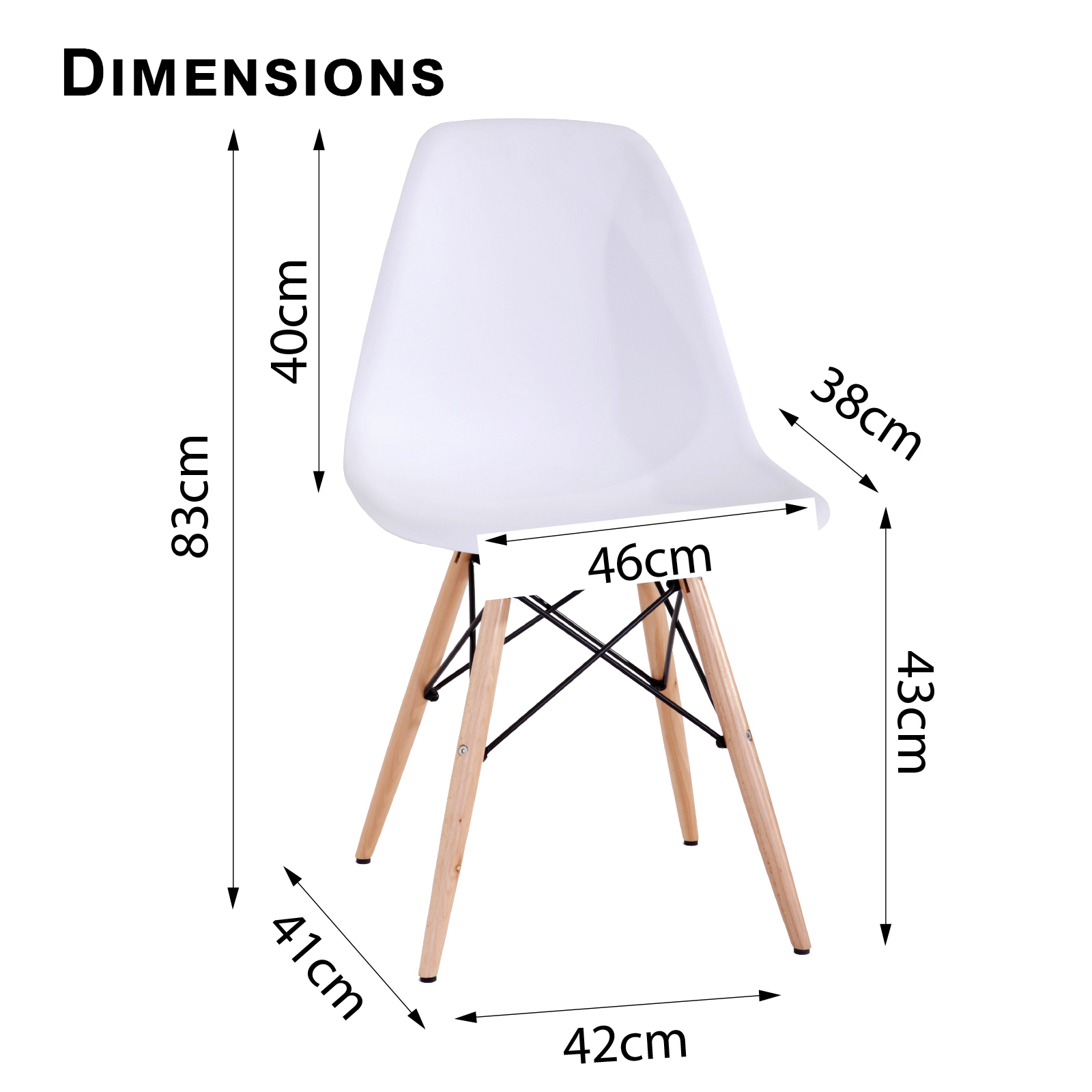 8 x Retro Replica Eames Chick DSW Dining Chairs Office  : Eames Chick White Dimensions from www.ebay.com.au size 1600 x 1600 jpeg 338kB