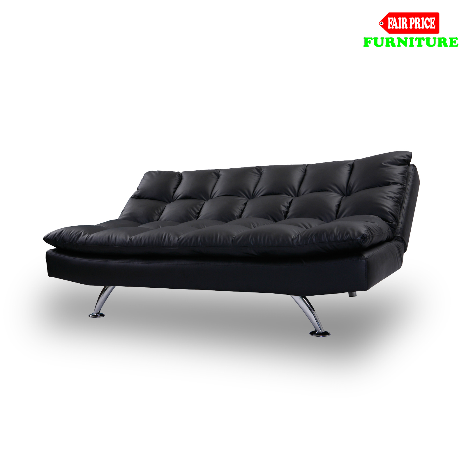 New Luxury Jupiter 3 Seater Black Pu Leather Solid Steel