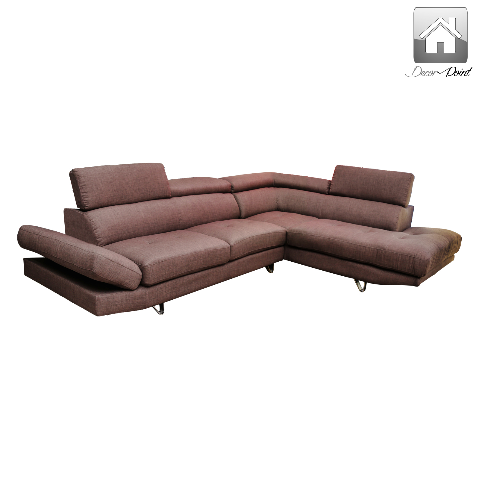 New Luxury Arizona Fabric Corner Sofa Set with Right Arm Chaise facing Brown