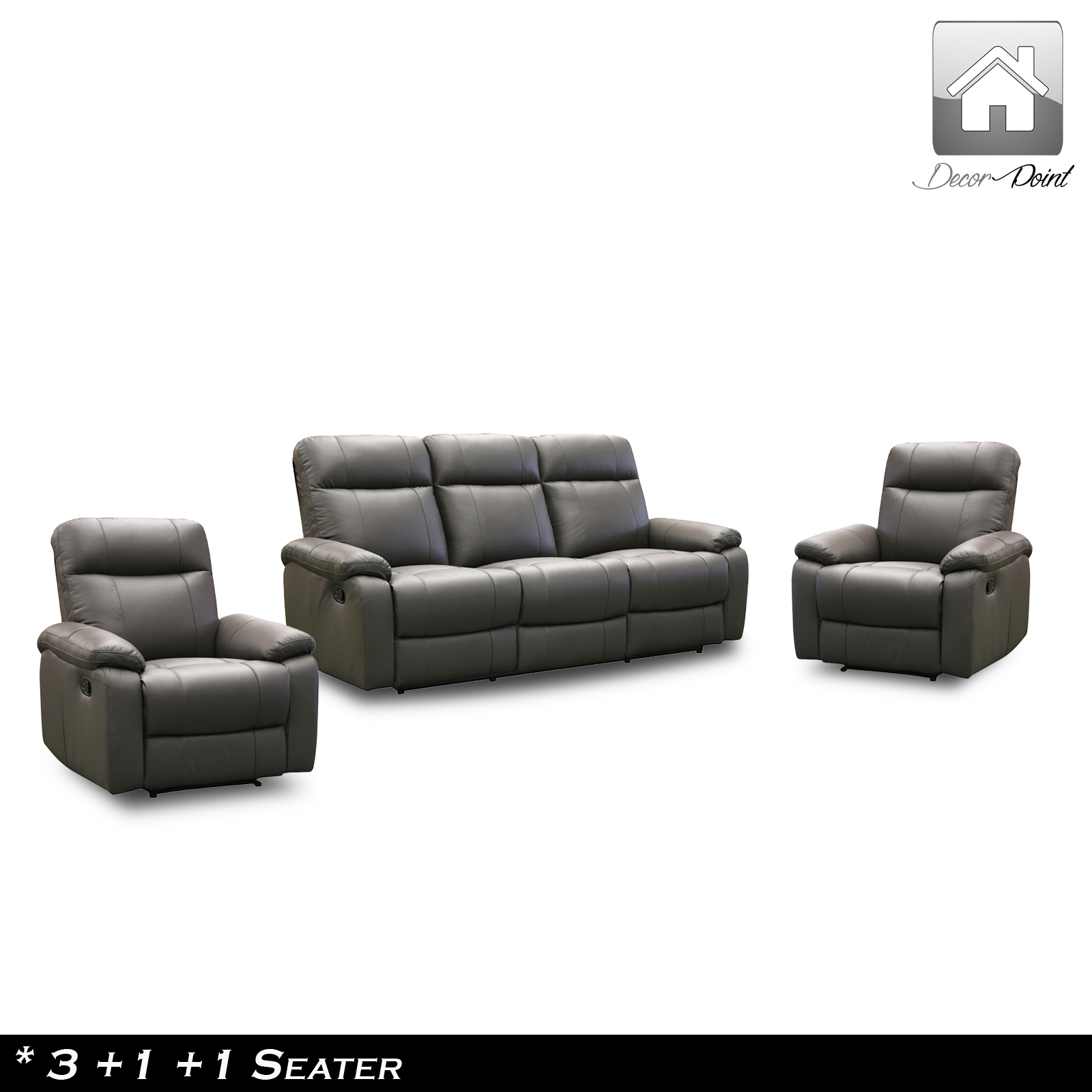 New Genuine Leather 3 Piece 5 Seater Luxurious Recliners