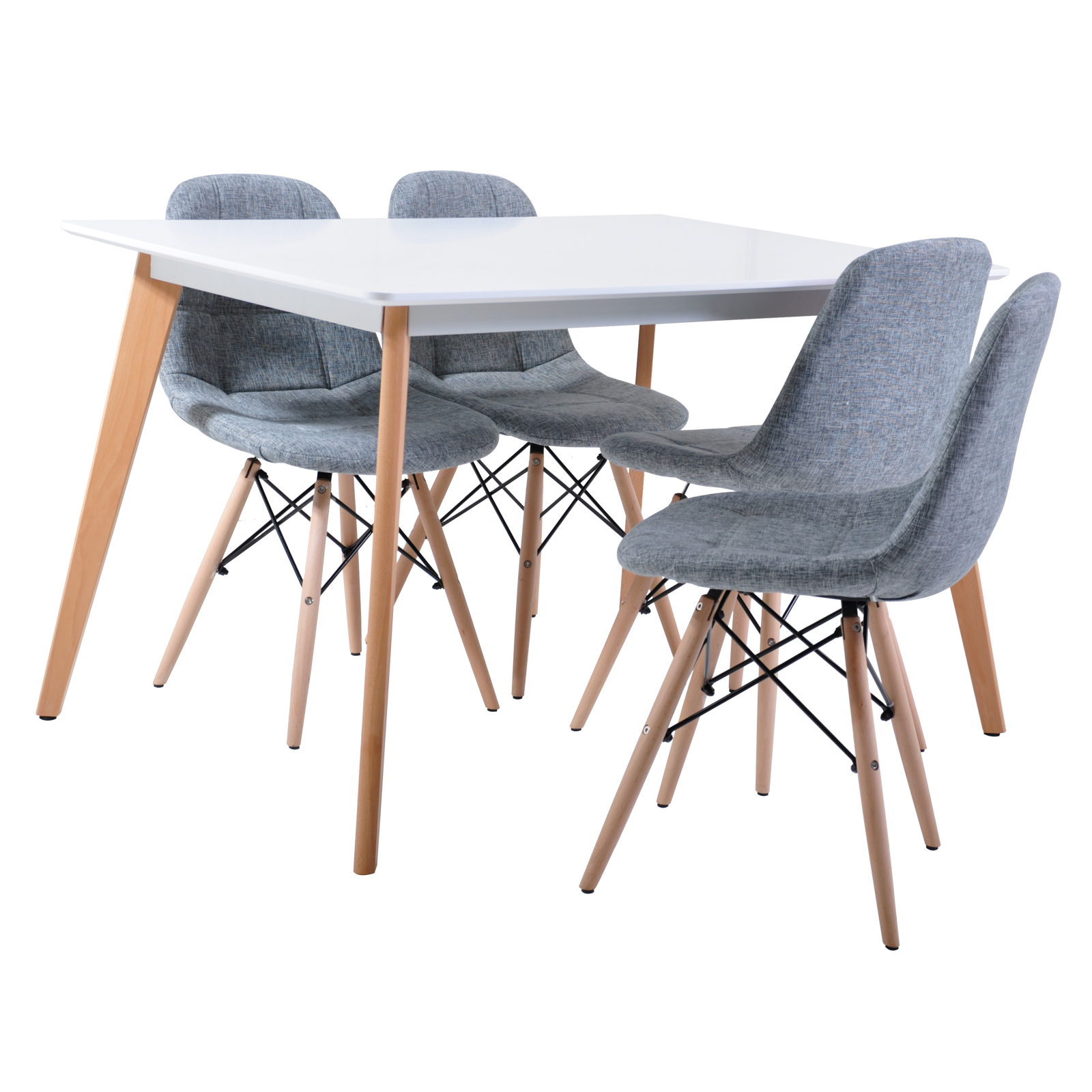 dining table 4 x replica eames ellen linen fabric dining chair cafe