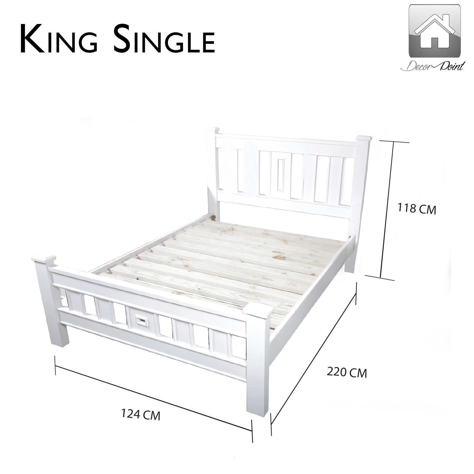 King Single Beds Sa : New luxury clonial pinewood king single white bed frame