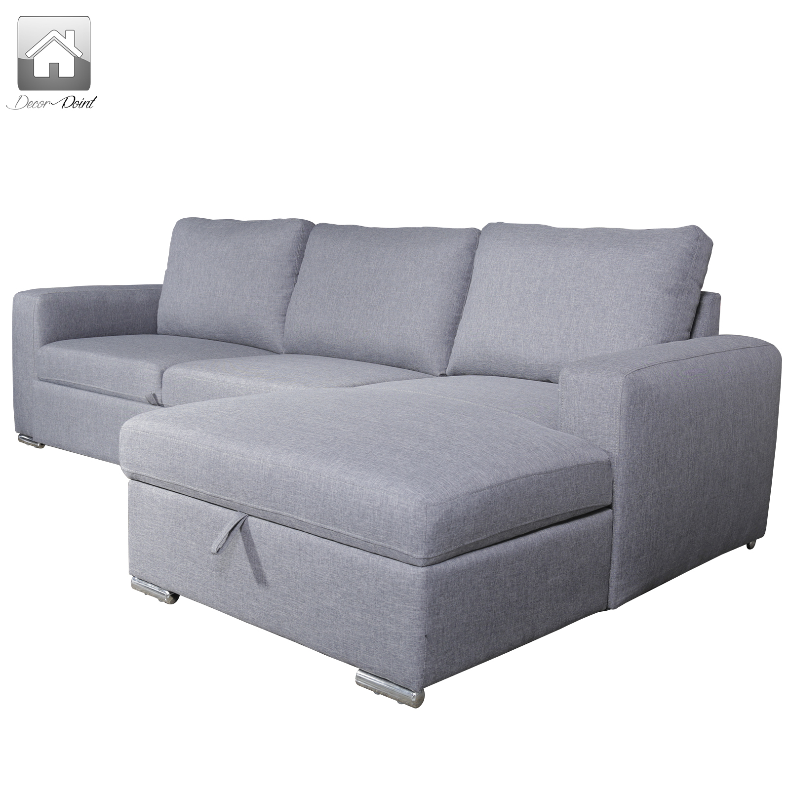 New luxury fabric 3 seater grey coral sofa bed with chaise for 3 seater chaise sofa bed