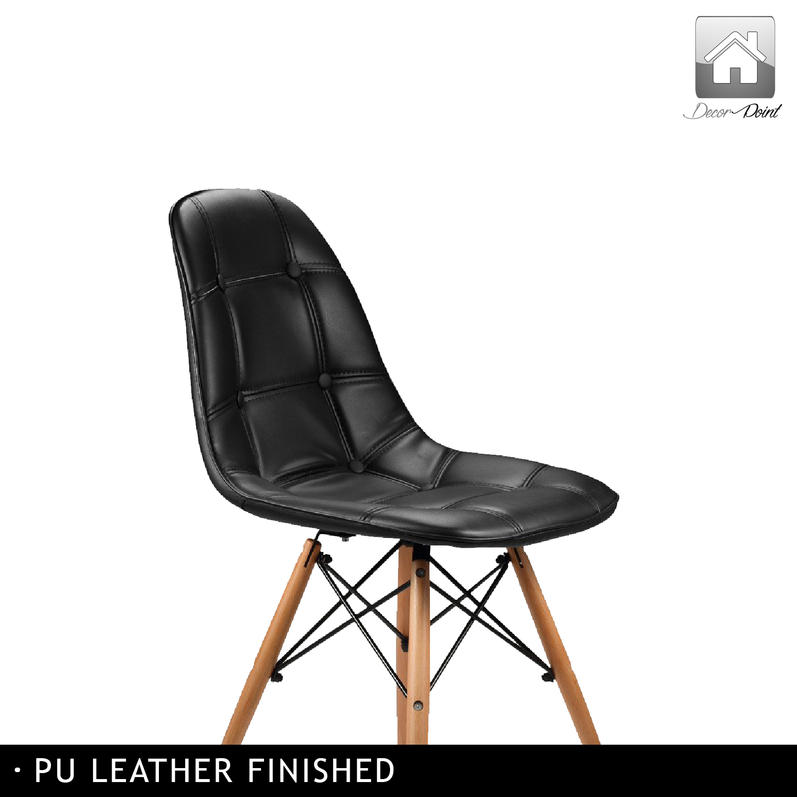 4 x replica eames ellen pu leather dining chair black for Leather eames dining chair