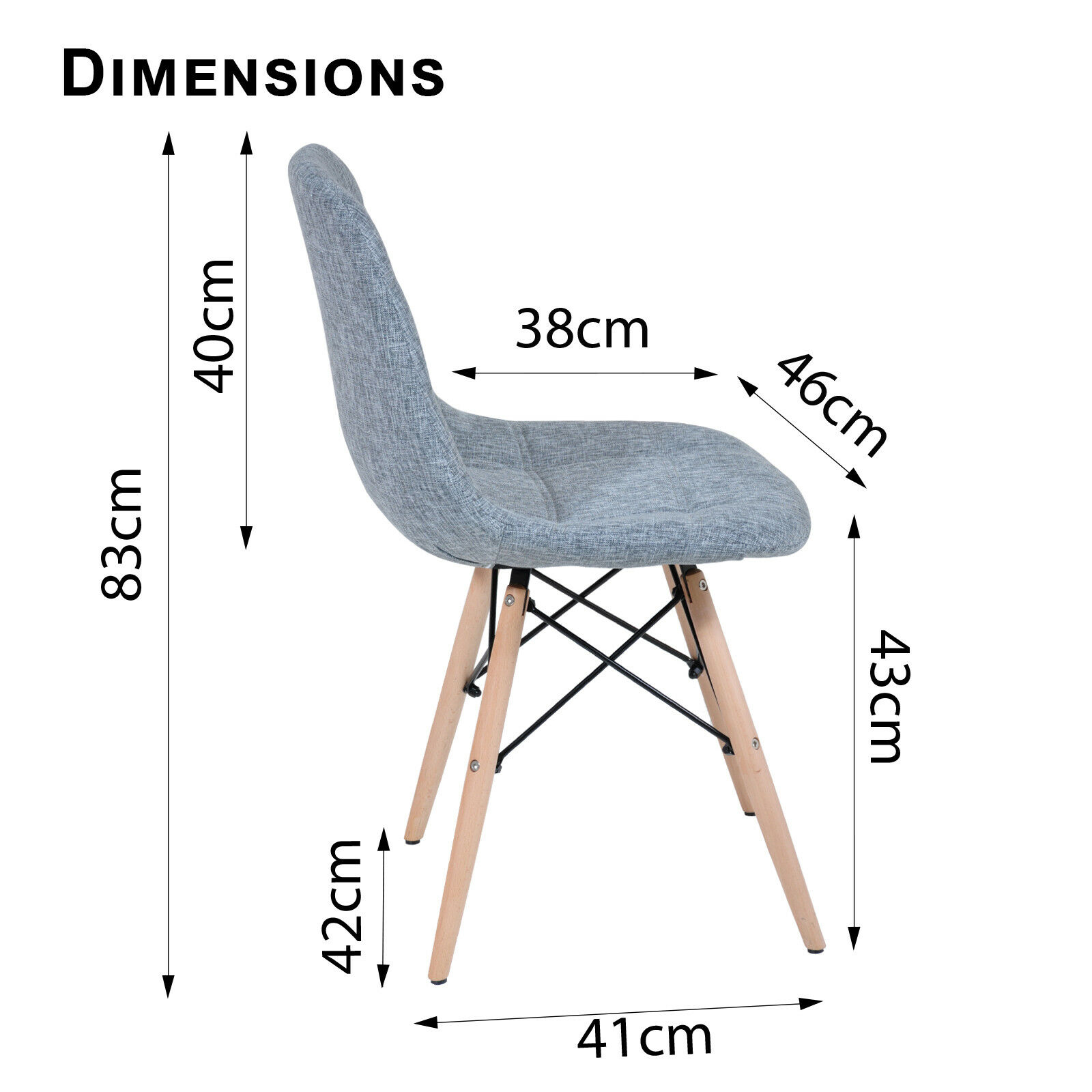 12 x Replica Eames Ellen Linen Fabric Dining Chair Grey  : Eames Ellen Grey Dimensions from www.ebay.com.au size 1600 x 1600 jpeg 532kB