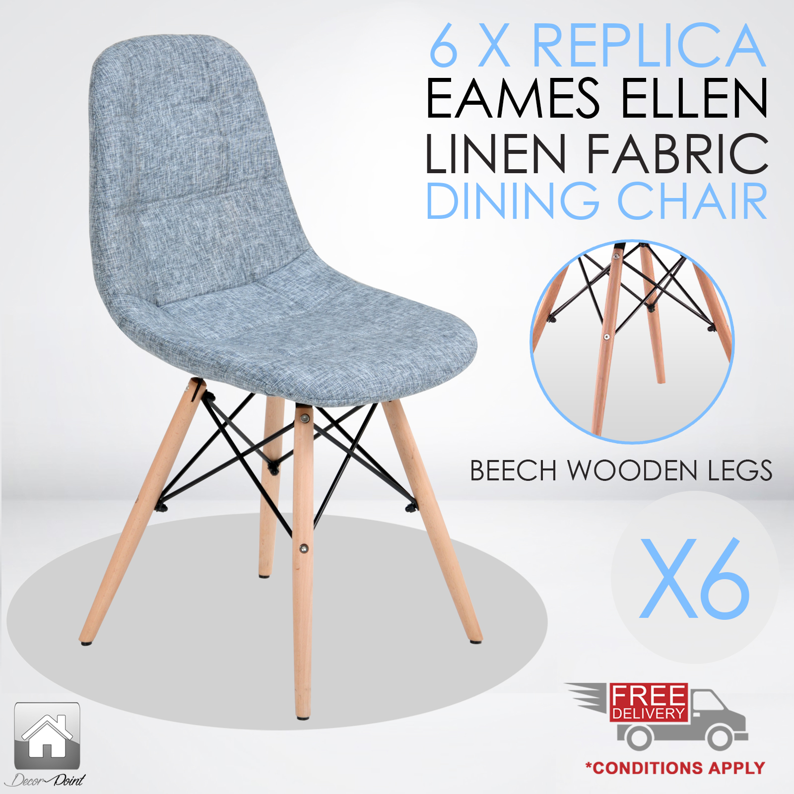 6 x Replica Eames Ellen Linen Fabric Dining Chair Grey  : Eames Ellen Grey Main6 from www.ebay.com.au size 1600 x 1600 jpeg 848kB