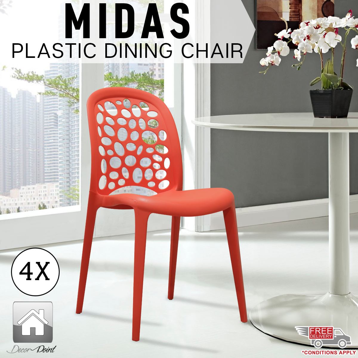 4 X New Best Quality Red Midas Plastic Dining Chairs For