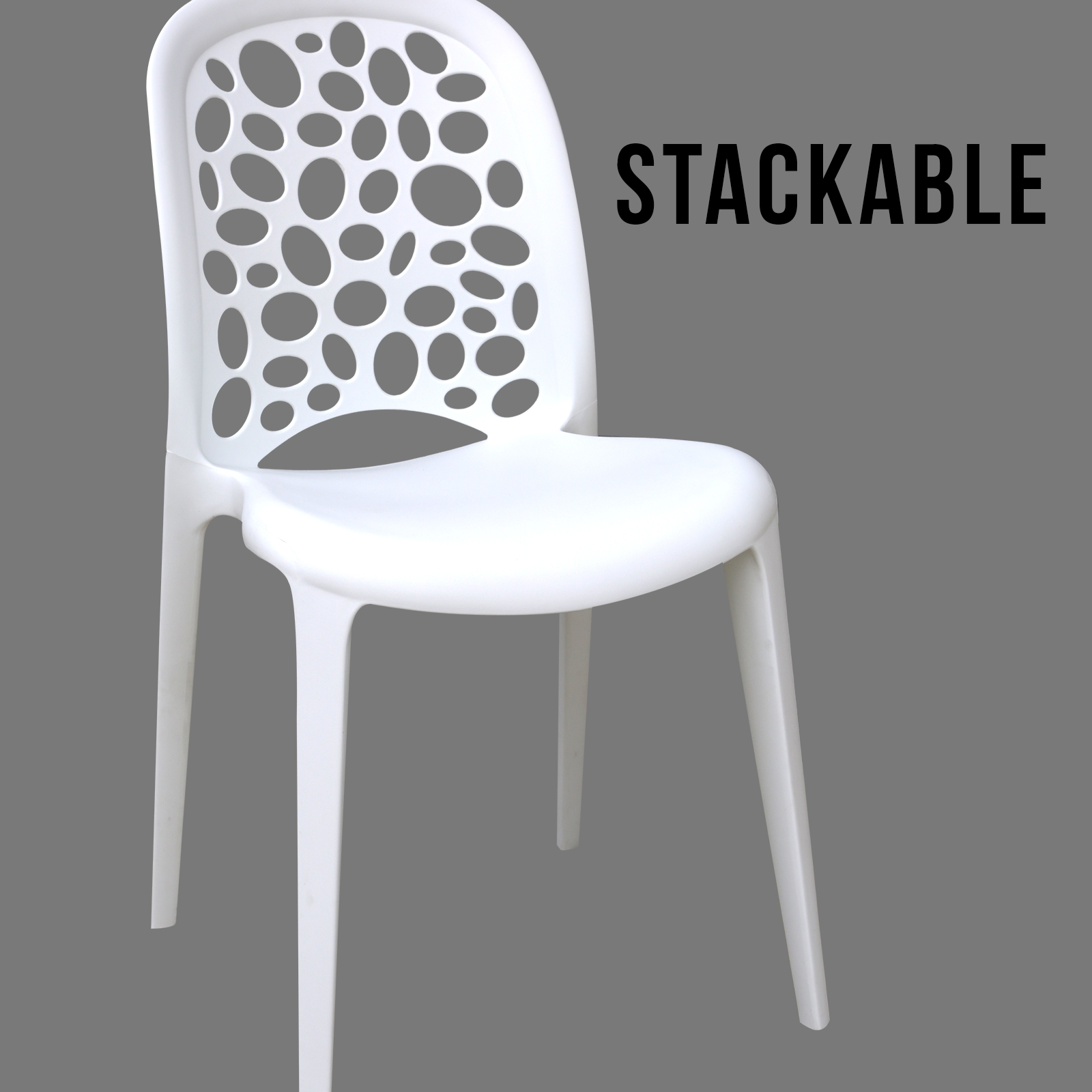 4 x new best quality white midas plastic dining chairs for