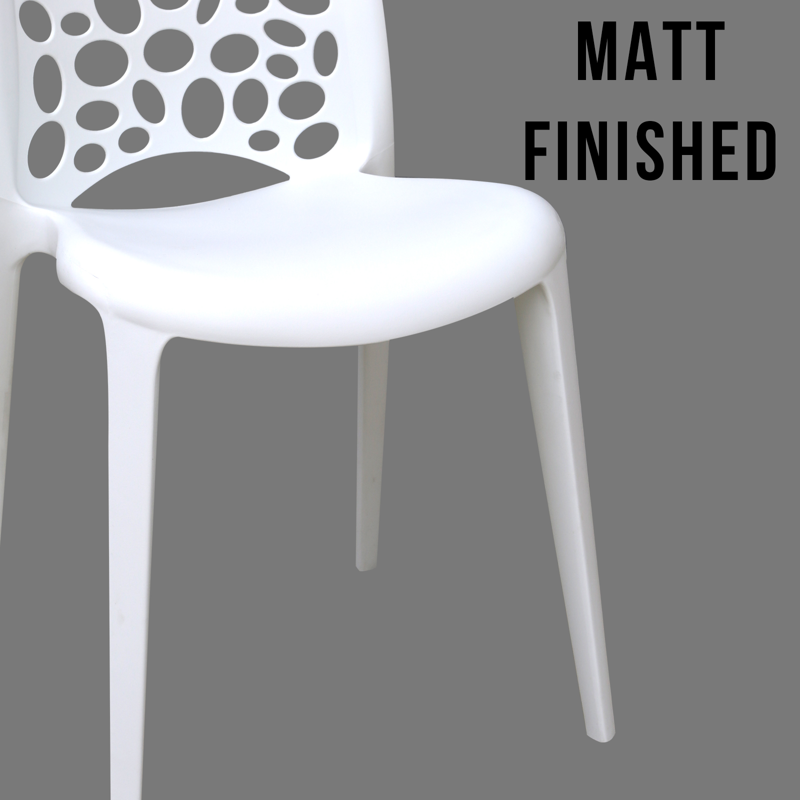 8 X New Best Quality White Midas Plastic Dining Chairs For
