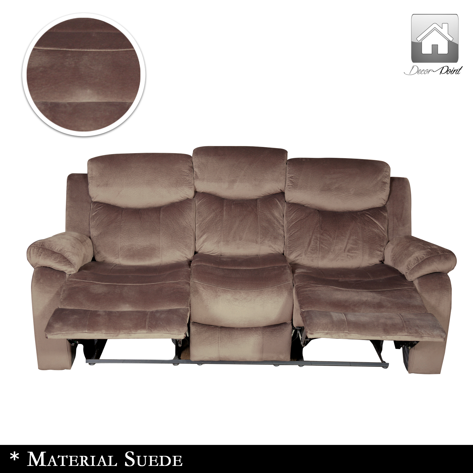 New Luxury Poland Suede Leather 3 Seater Recliners Sofa