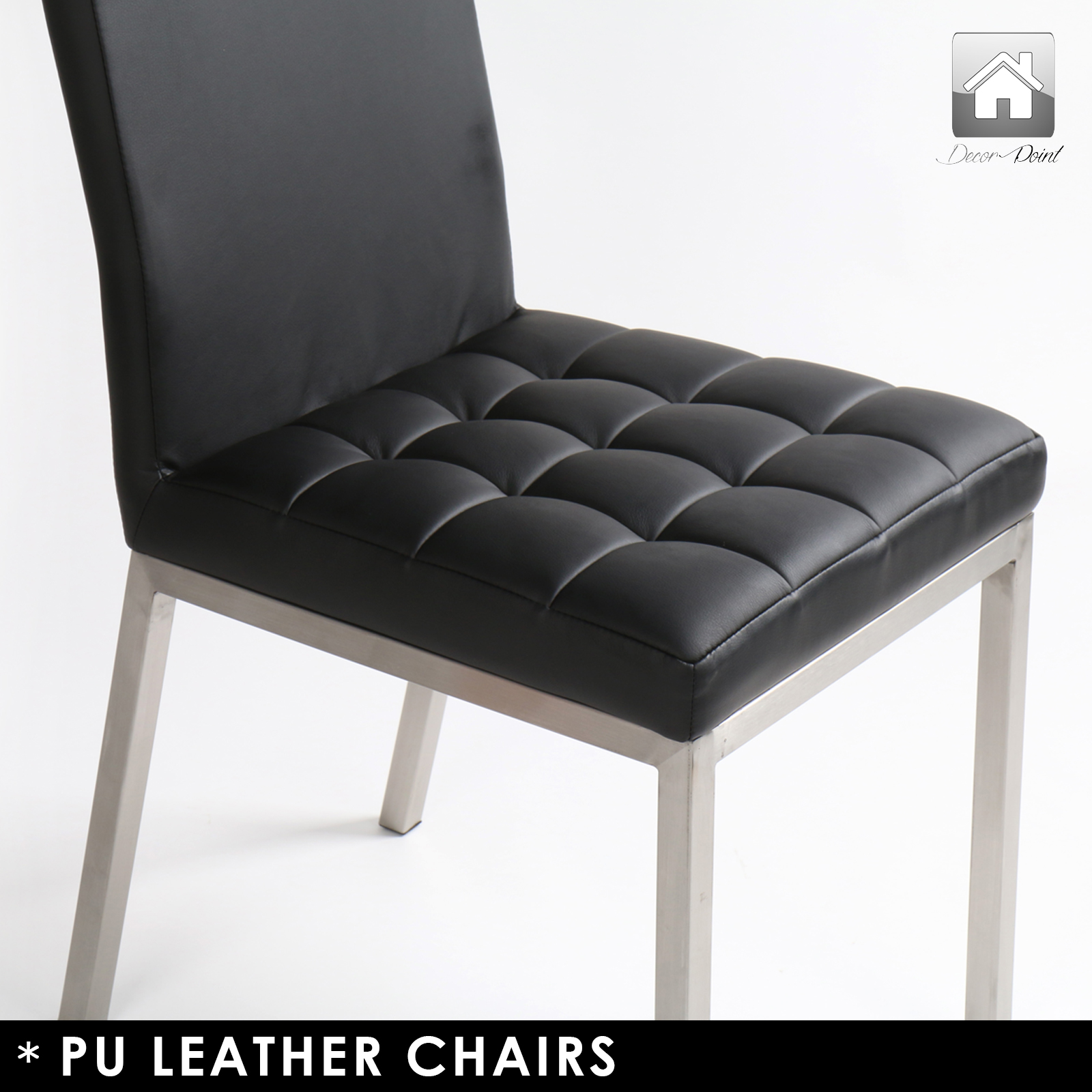 4 x new luxury shanghai pu leather dining chairs with for Leather dining chairs with metal legs