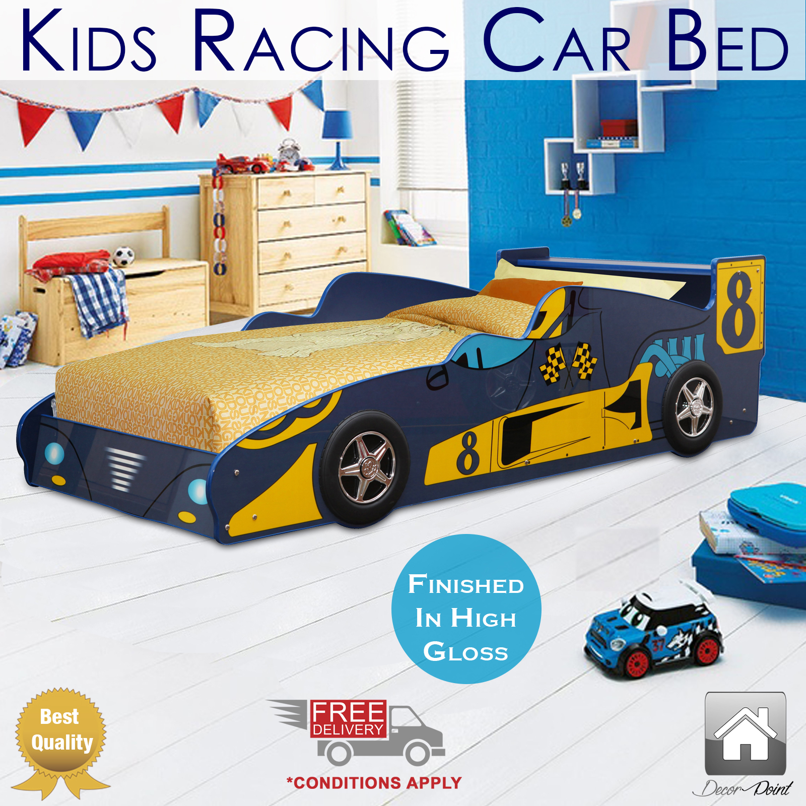Kids racing car bed single size blue amp yellow color children bedroom