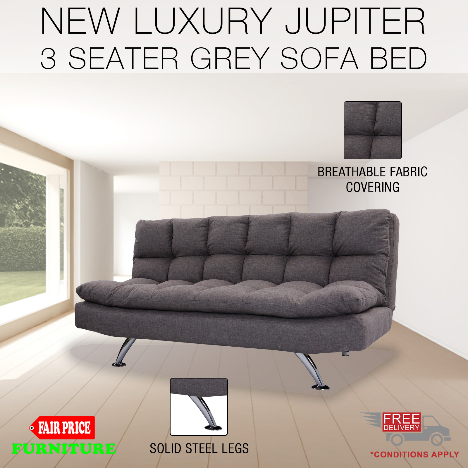 New Luxury Jupiter 3 Seater Grey Linen Fabric Solid Steel Legs