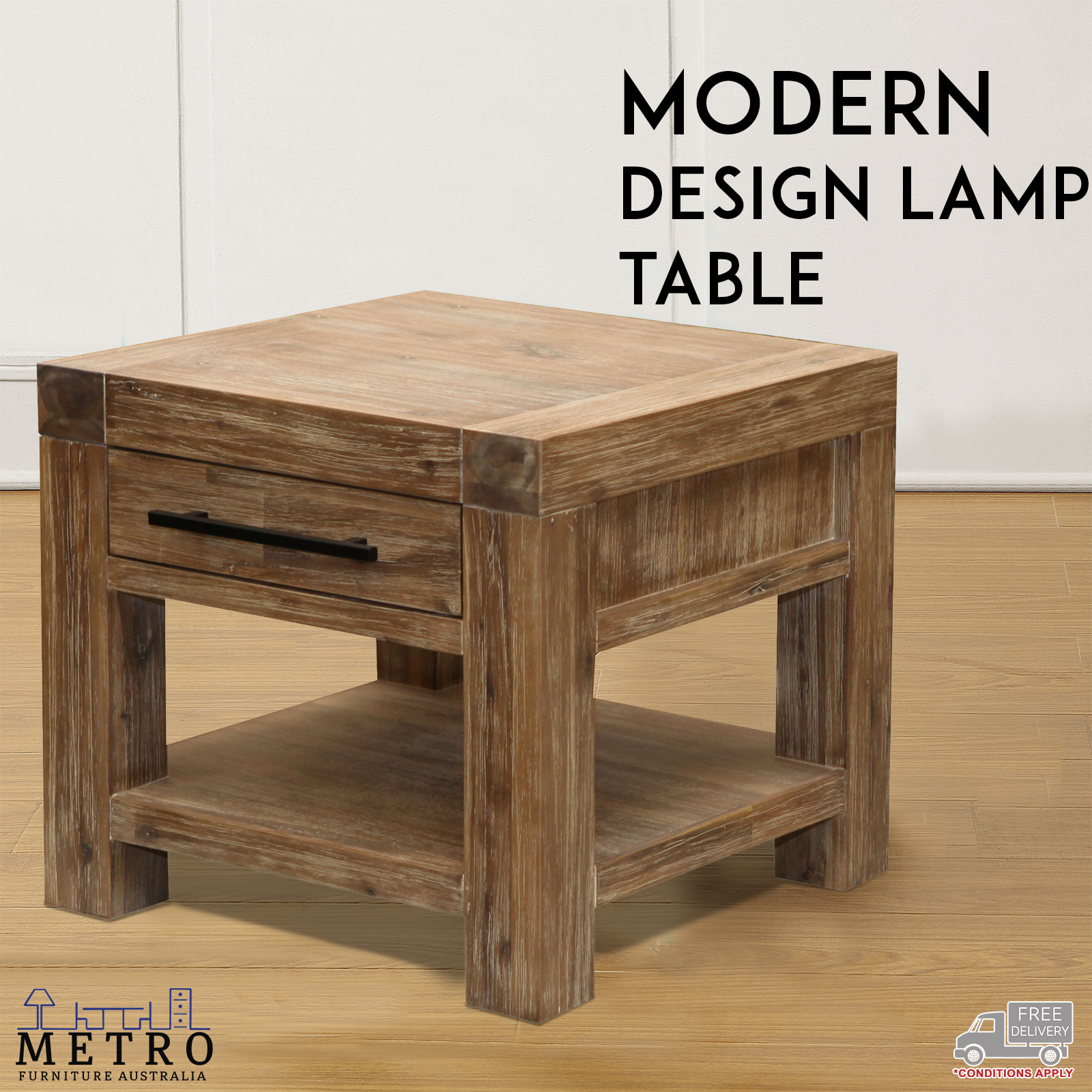 New Side Lamp Table Tablet Laptop Living Room Hardwood Acacia Timber
