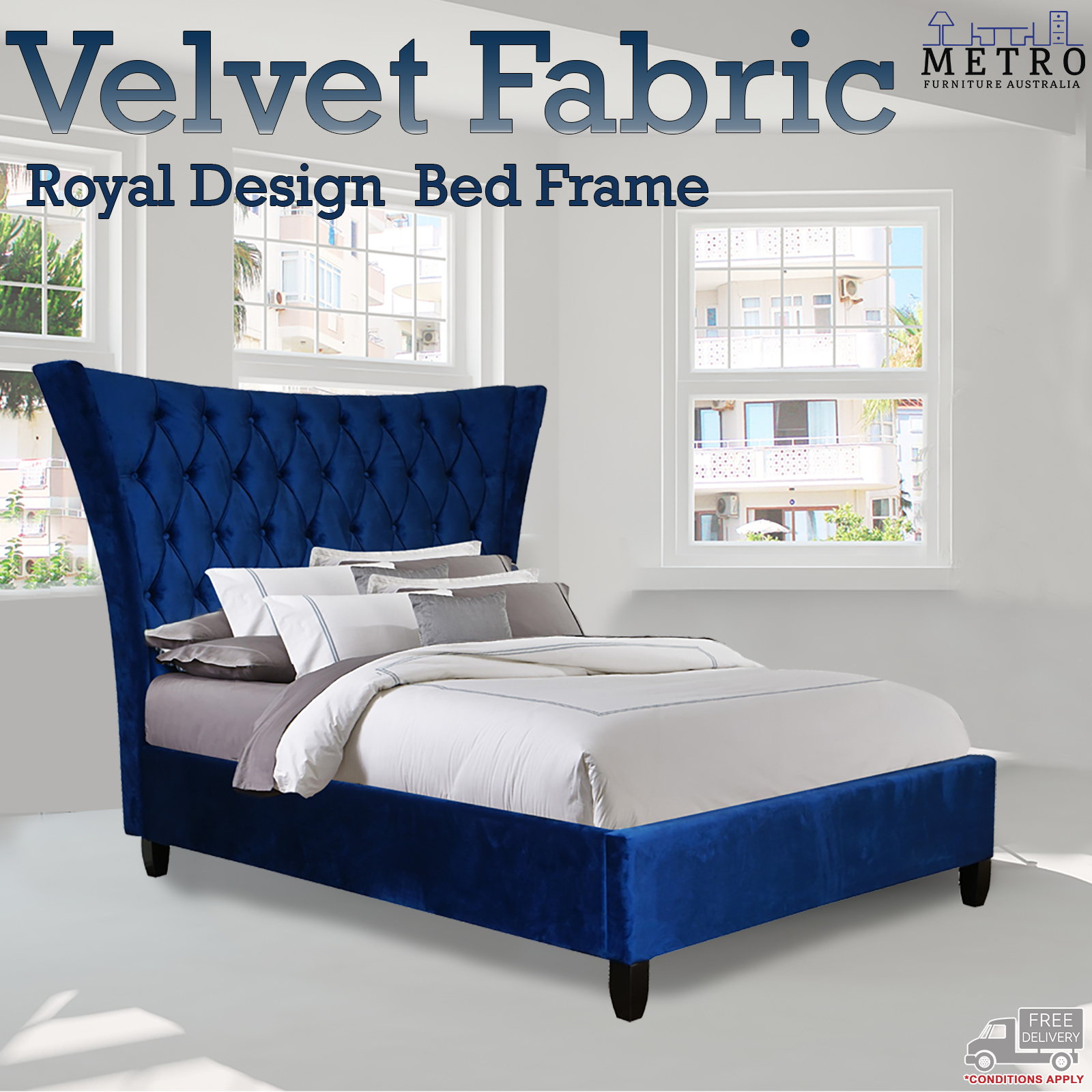 New Luxury Royal Style Velvet Queen King Bed Frame Velvet Beds Navy Blue Ebay