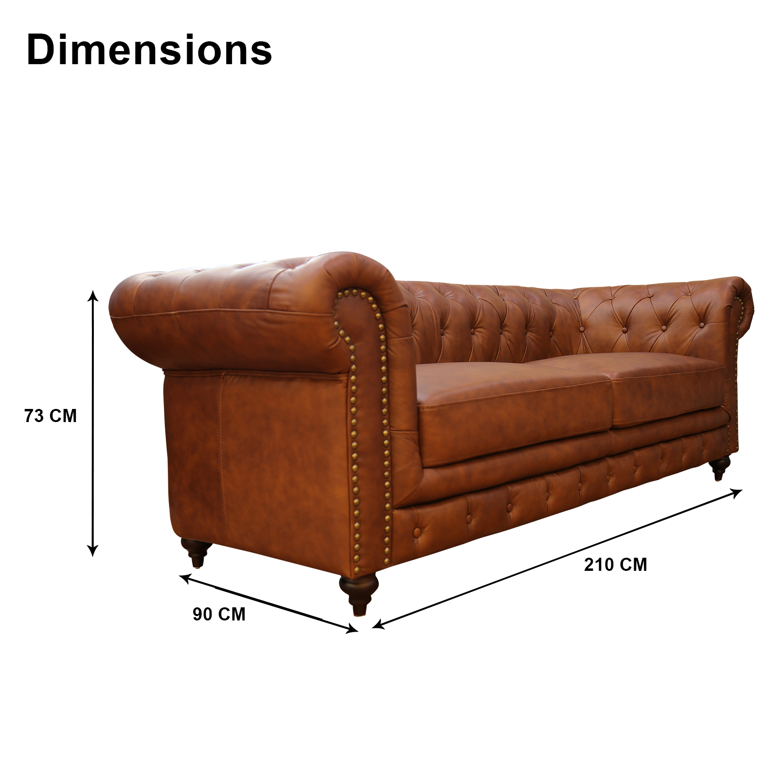 New chesterfield design 100 semi aniline leather 3 for Semi classic sofa