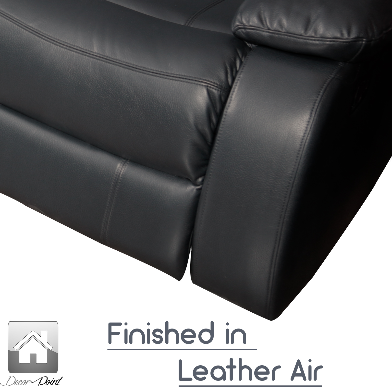 New Luxury Hollywood Black Leather Air 2 Seater Home Theater
