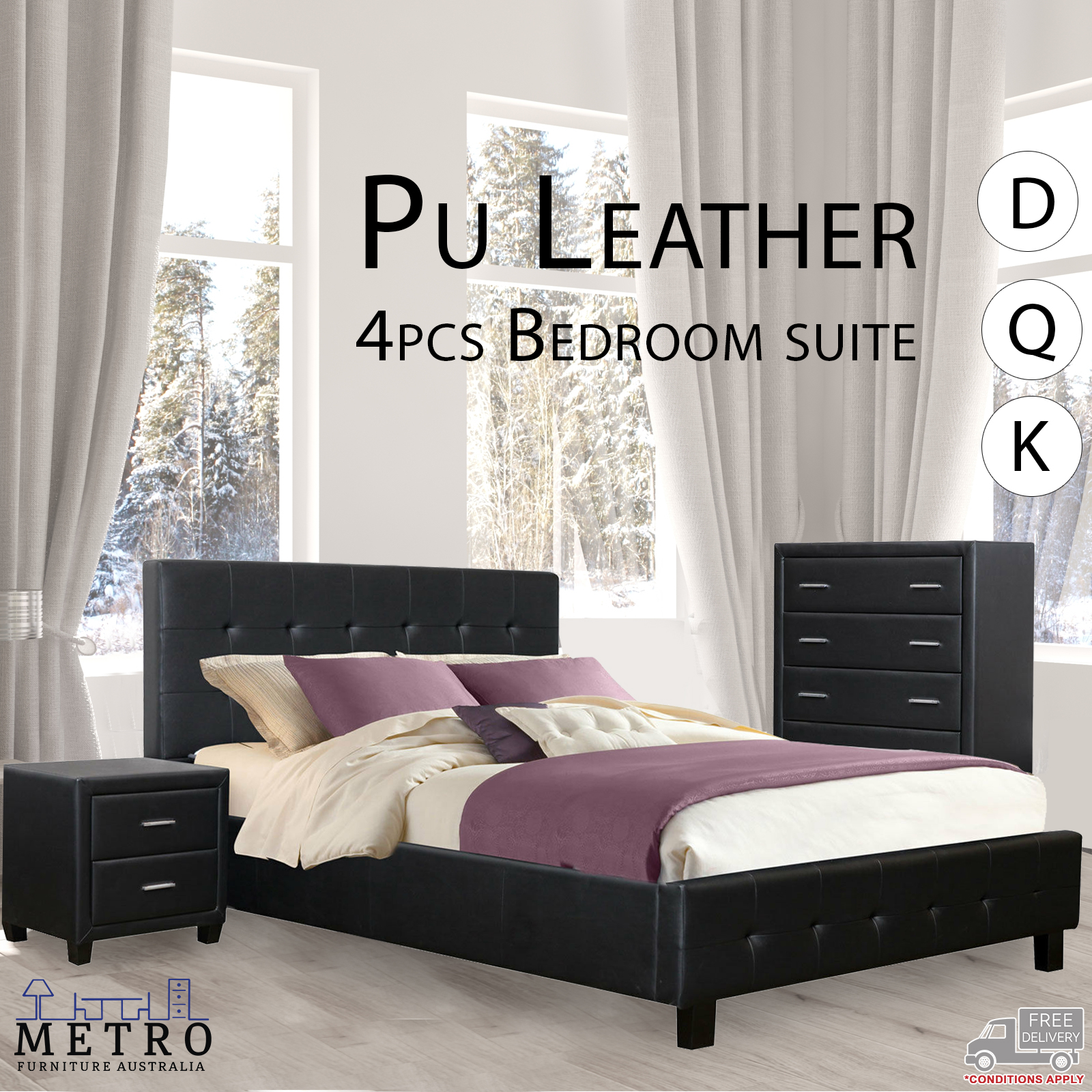 Details about New Luxury Best Quality PU Leather 4Pcs Bedroom Suite Double  Queen King Size