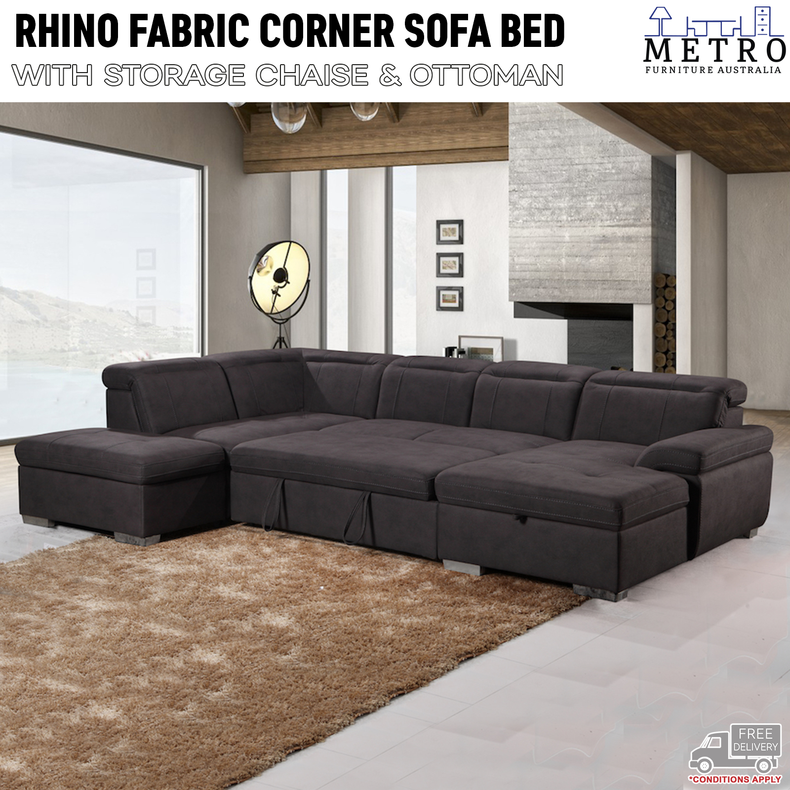 cheap for discount 7087a f3953 Details about New Sofa Bed Rhino Fabric 3 Seater Storage Corner Lounge  LHF,RHF Chaise,Brown