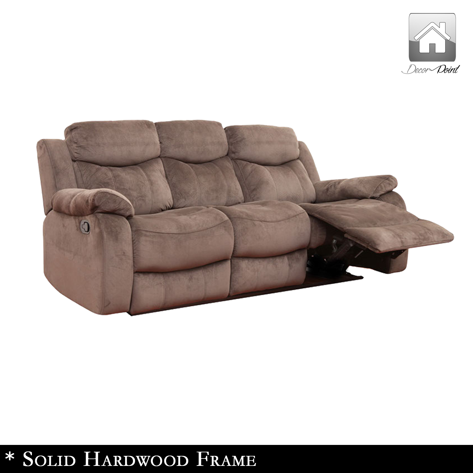 New Luxury Poland Suede Leather 3 Seater Recliners Sofa Truffle