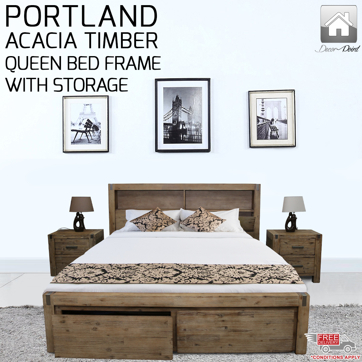 New Luxury Solid Acacia Timber Portland Espresso Queen Bed Frame