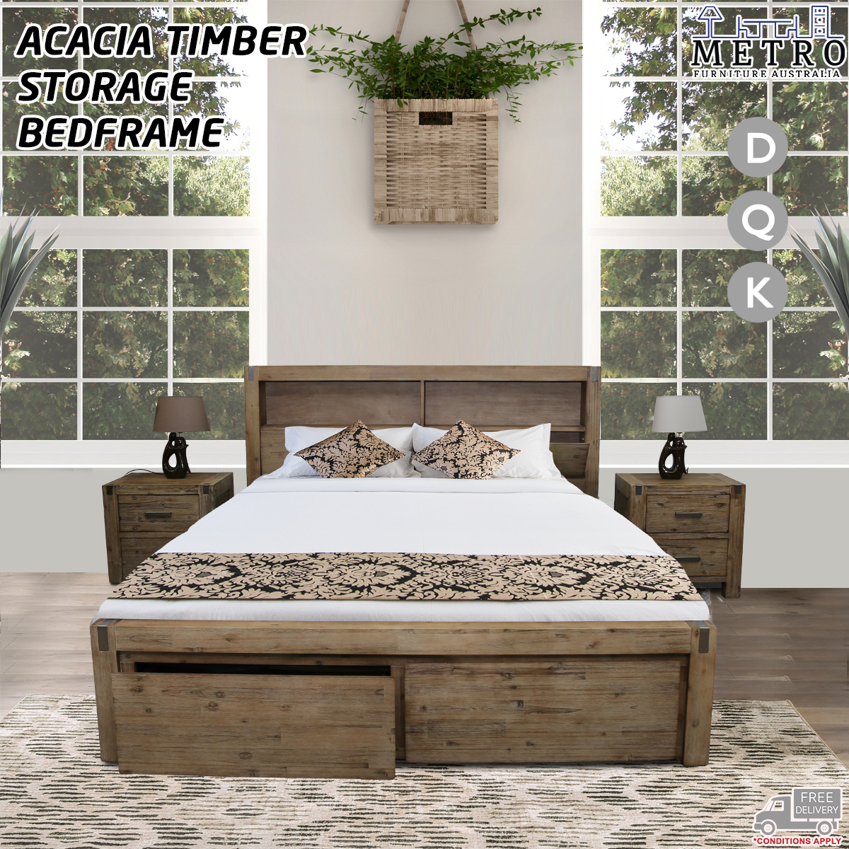 Details about Acacia Timber King Double Queen Bed Frame With  Storage,Espresso