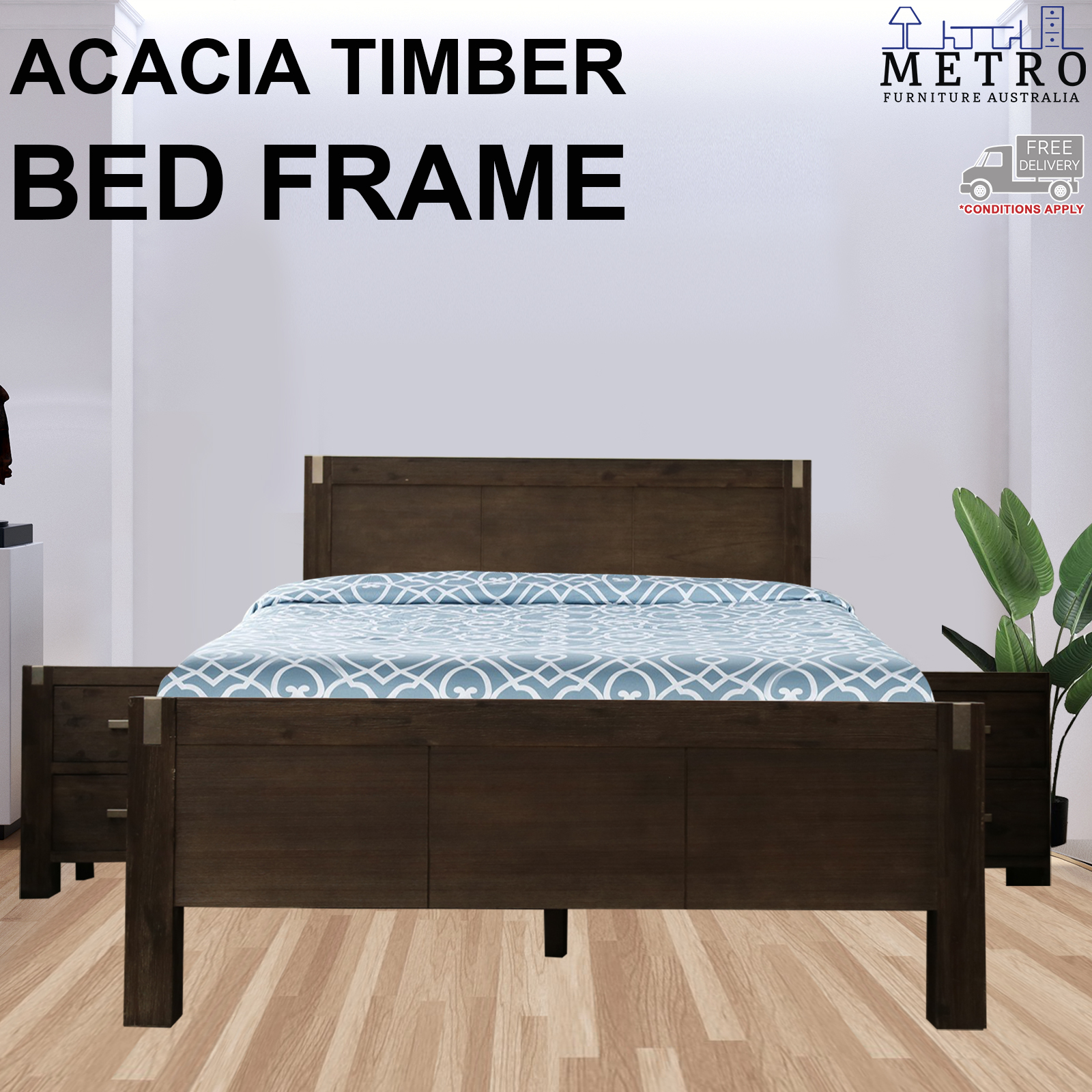 New Luxury Solid Acacia Timber Portland Wenge Color King Bed Frame