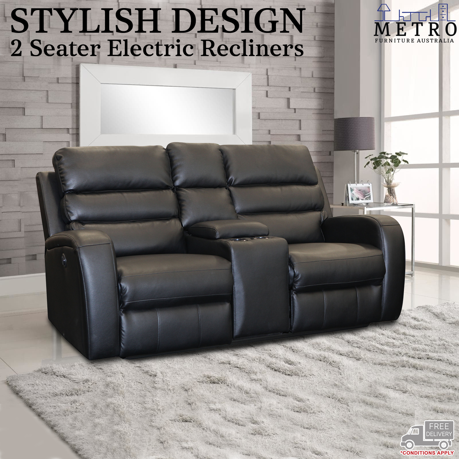 Details about New Luxury 3,2,1 Seater Leather Air Black Electric Recliner  Sofa Couch Lounge