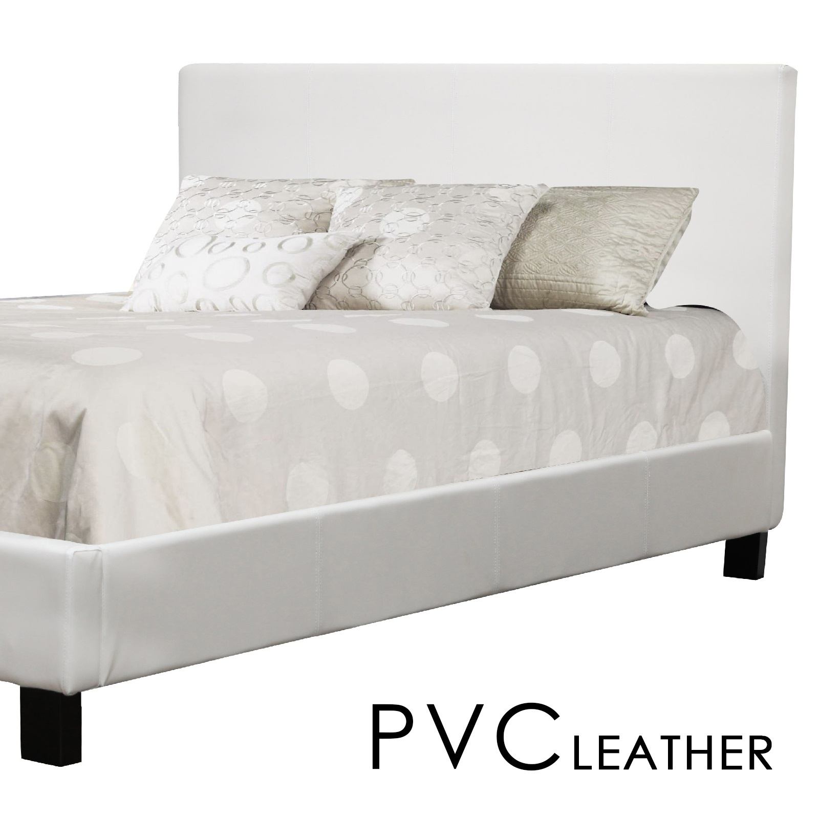 Pvc Bed: New Matte Finished Prado Single White PVC Leather Bed