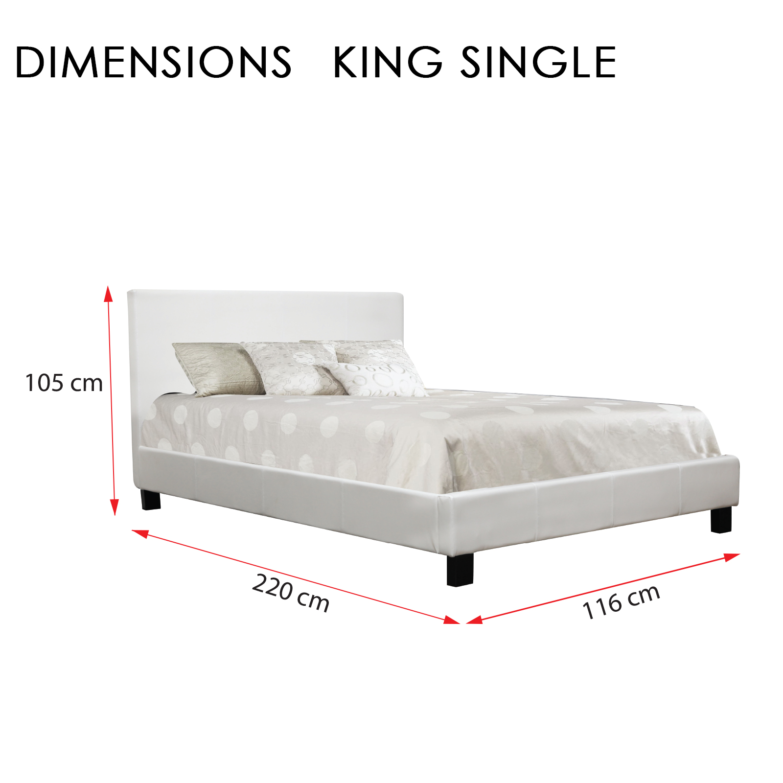 New Matte Finished Prado King Single White PVC Leather Bed Frame ...
