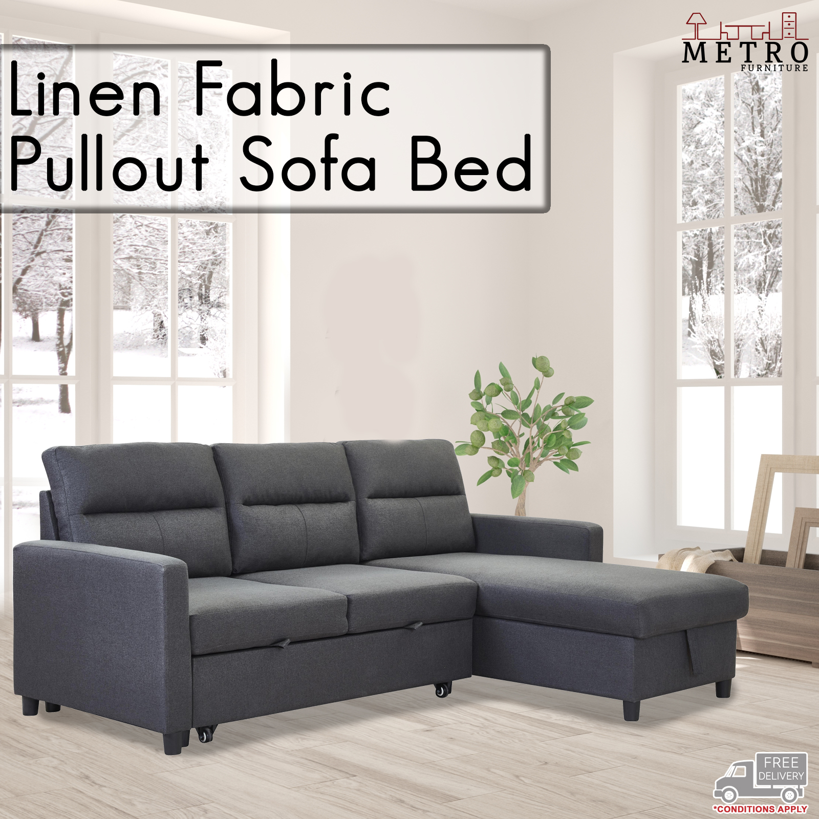 New 3 Seater Linen Fabric Pullout Sofa Bed With Chaise Grey Charcoal Color Ebay